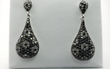 White Gold Tear Drop Earrings with Diamonds - 51554