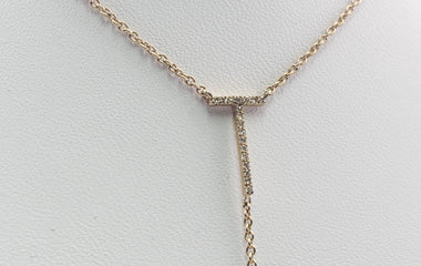 "Yellow Gold Necklace with ""T"" Diamond Pendant - 70153"
