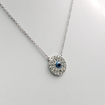 14kt White Gold Necklace with Round Diamond Pave Pendent - 58105