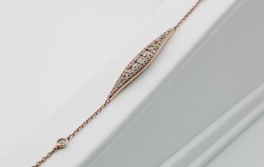 14kt Rose Gold Bracelet & Marque Pendent with Round Diamonds - 69392