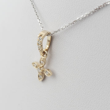 14kt White Gold Necklace with Yellow Gold Flower Shape Round Diamonds Pendent - 72693