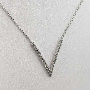 14kt White Gold Necklace with V Shape Diamond Pendent - 69507