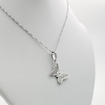 14kt White Gold Necklace with Diamond Pave Butterfly Shape Pendent - 72800