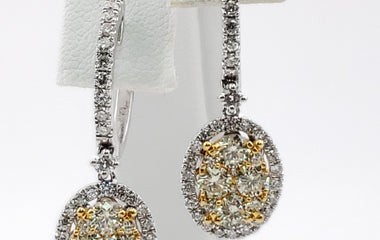 White Gold (with Yellow Gold Accents) Ear Drop Earring with Diamonds - 66556