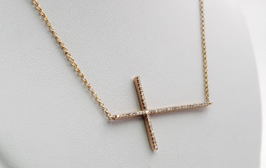 14kt Rose Gold Necklace & Diamond Pave Cross Pendent - 63802