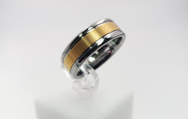 Polished Silver Color Tungsten Ring with a Gold Color Inlay