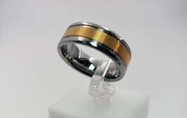 TUNGSTEN RING - 001J Polished Silver Color Tungsten Ring with a Gold Color Inlay