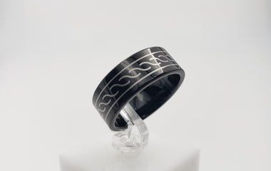 Black Tungsten Ring with a Twisting Rope Design