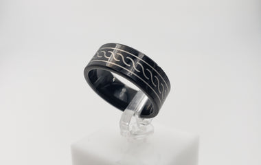 TUNGSTEN RING - 30# Black with a Twisting Rope Design