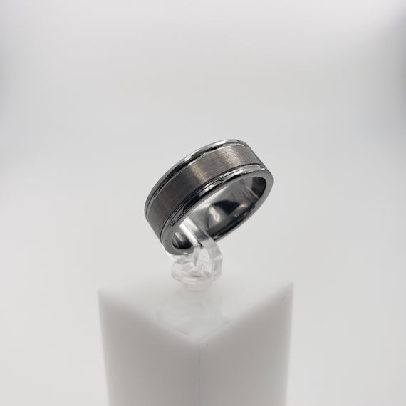 Tungsten Ring with Brushed Center with Polished Edges