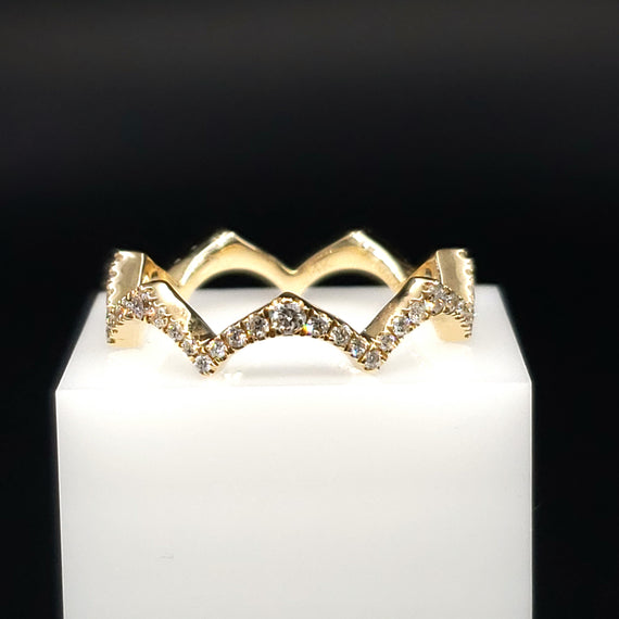 14kt Yellow Gold Crown Ring w/ Diamond Pave - Fine Jewelry