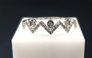 14kt White Gold Ring w/ Diamond Pave 0.19CTW Size 7- Fine Jewelry - Stackable