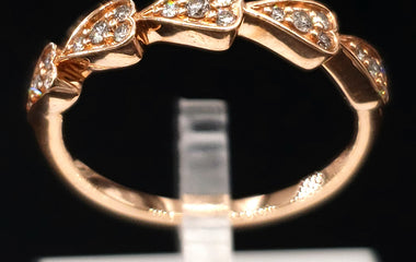 14kt Rose Gold Multi-HeartRing w/ Diamond Pave - Stackable