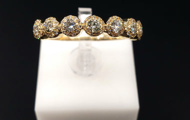 14kt Yellow Gold Ring with Round Diamond Pave - Stackable