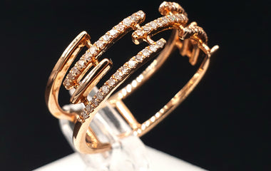 14kt Rose Gold Multi Band Ring w/ Diamond Pave