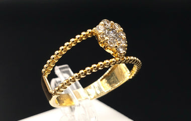 14kt Yellow Gold Ring w/ Diamond Pave  Size 6.25 - Fine Jewelry