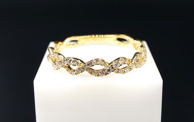 18kt Yellow Gold Ring with Round Diamond Pave - Fine Jewelry - Stackable