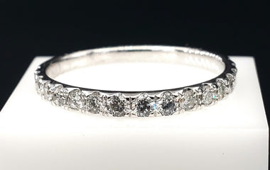 14kt White Gold Ring with Diamond Pave - Fine Jewelry - Stackable
