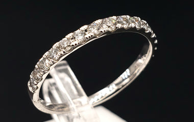 14kt White Gold Ring with Diamond Pave 0.44CTW - Fine Jewelry - Stackable