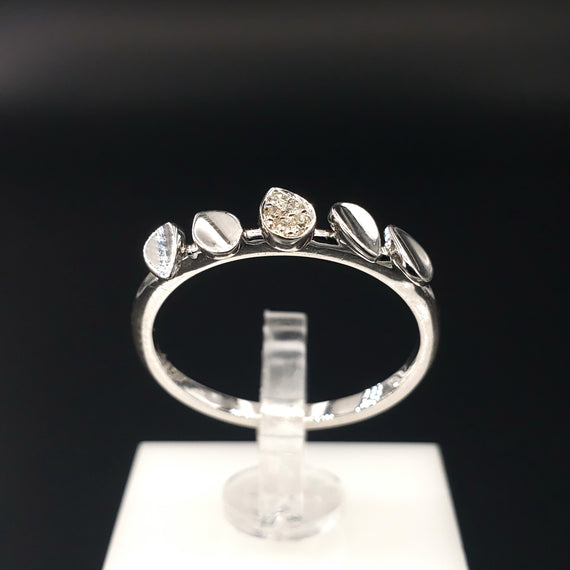 14kt White Gold Ring w/ Diamond Pave 0.03CTW - Size 6 - Stackable