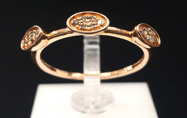 14kt Rose Gold Ring with Diamond Pave Fine Jewelry - Stackable