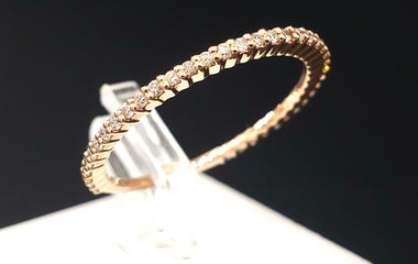 14kt Rose Gold Ring w/ Diamond Pave  Stackable