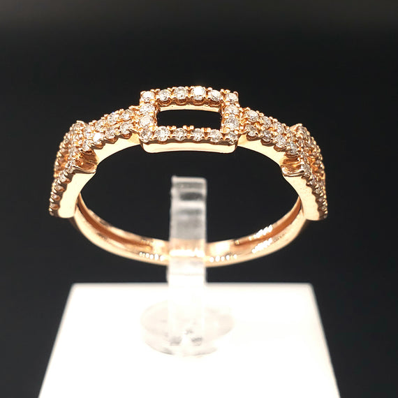 14kt Rose Gold Ring with Round Diamond Pave Stackable