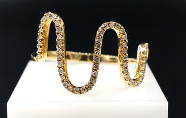 14kt Yellow Gold Wave Ring w/ Diamond Pave - Stackable
