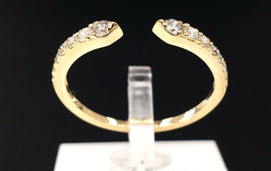 14kt Yellow Gold Cuff Ring with Round Diamond Pave  Fine Jewelry - Stackable