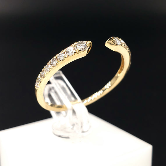 14kt Yellow Gold Ring with Round Diamond Pave 0.24CTW - Fine Jewelry - Stackable