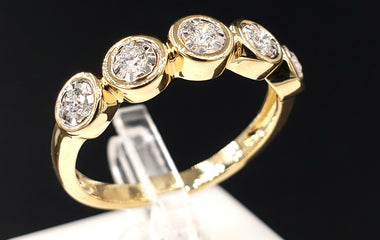 14kt Yellow Gold Ring w/ Diamond Pave 0.21CTW Size 7 - Fine Jewelry - Stackable