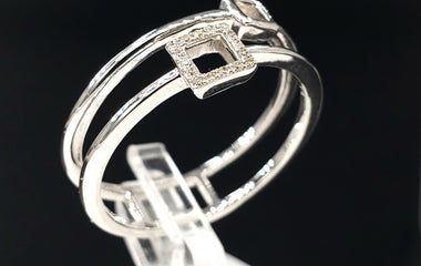 14kt White Gold Ring w Two Band Square Design and Round Diamond Pave - Stackable