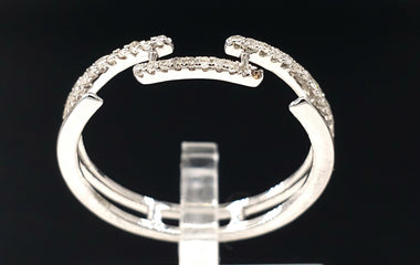 14kt White Gold Ring with Diamond Pave - Stackable