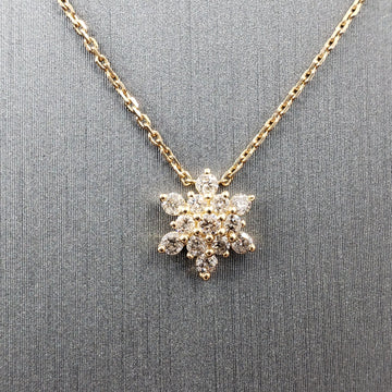 14kt Gold Necklace w/ Floral Pendant Diamond Pave - 18in - Fine Jewelry