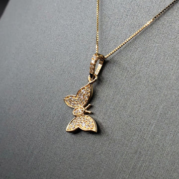 14kt Gold Butterfly Necklace w/ Diamond Pave - 18in Chain - Fine Jewelry