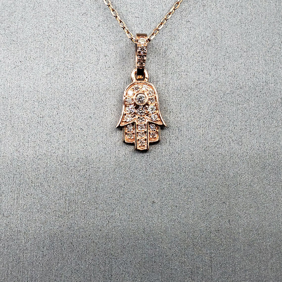14kt Rose Gold Hamsa Pendant with Diamonds