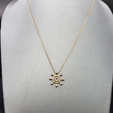 14kt Gold Necklace w/ Ship Wheel Diamond Pave Pendant 18in - Fine Jewelry