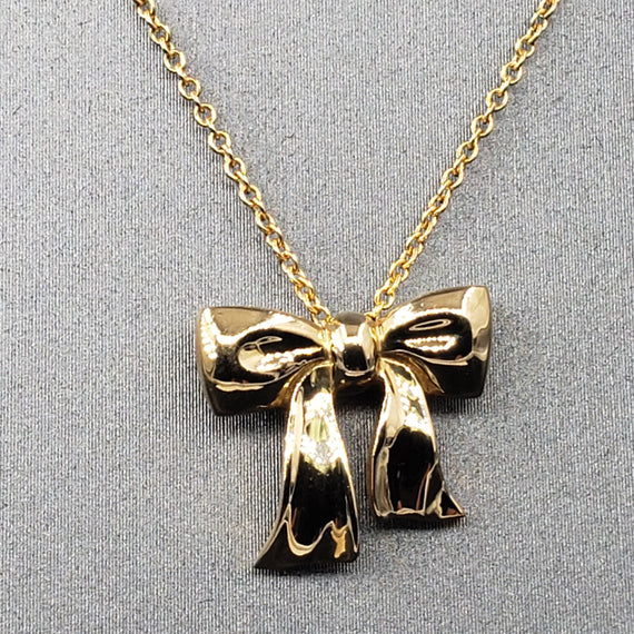 TIFFANY & Co Bow Ribbon Pendant Necklace 18k Yellow Gold
