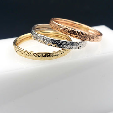 10KT Solid Gold Stackable Band Ring Set - Tri-Colored - Hammered Finish