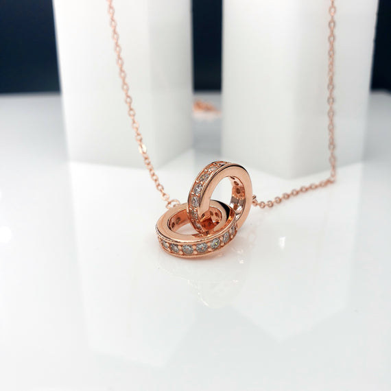 18kt Rose Gold Necklace w/ Linked Love Circles 925 Sterling Silver with CZs