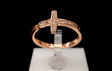 18kt Rose Gold Stackable Cross Ring 925 Sterling Silver Base Metal with CZ