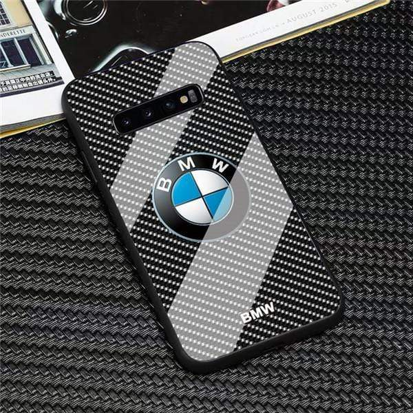BMW Porsche Ferrari Mercedes Bens Audi RS Tesla Lamborghini 3D Logo Car Design Anti-Drop Tempered Glass Phone Case For Samsung S10 S9 S8 Plus