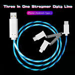 3-in-1 LED streamer data cable for Apple Android Type-C phones