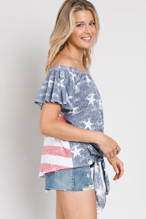 American Flag off the Shoulder Top