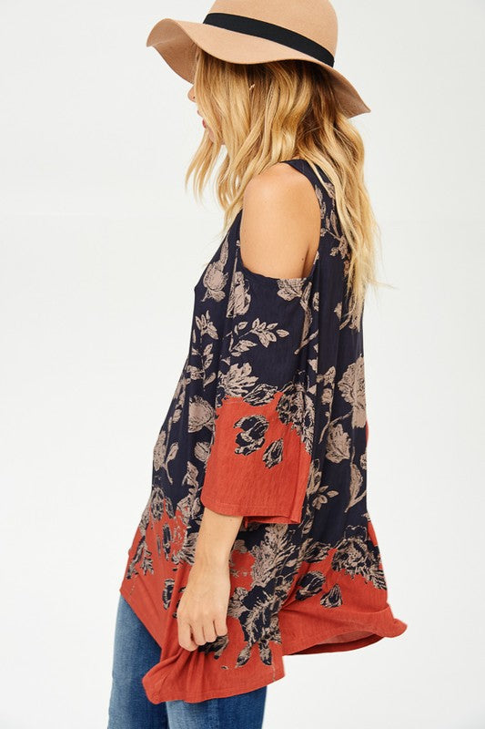 Floral Print Open Shoulder Tunic
