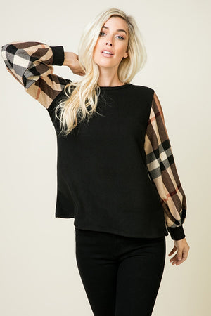 Contrast Plaid LS Top