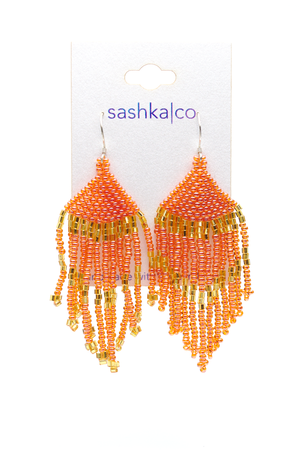 Coral Glass Beaded Earrings