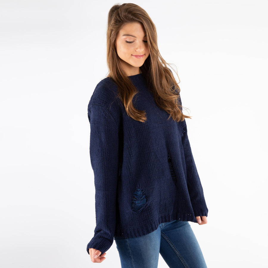 Distressed Chenille Sweater