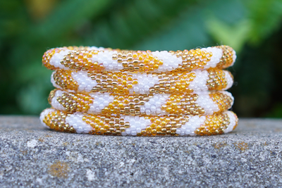 Sashka Orange White and Gold Bracelet