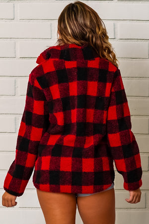 Red and Black Plaid Pullover